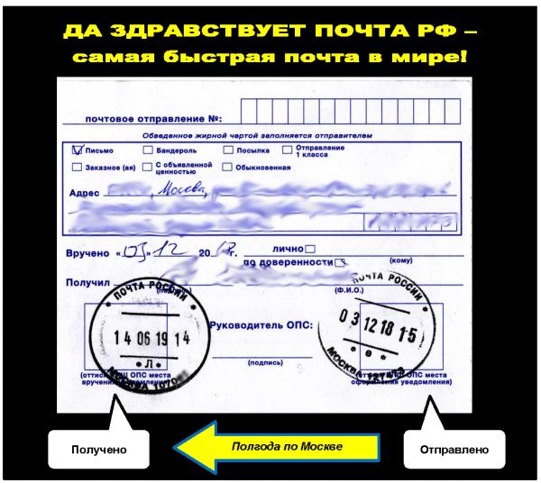 Мем: Почта России - самая быстрая почта в мире (полгода по Москве)
