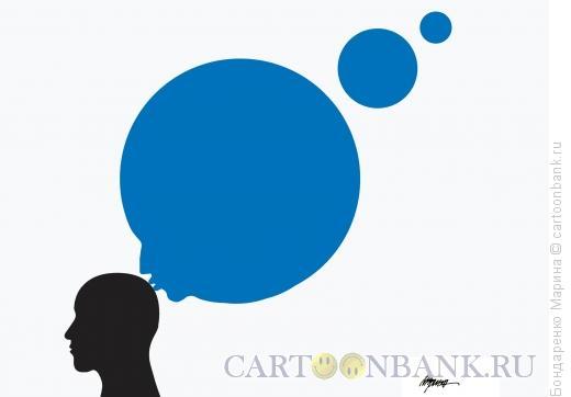 Карикатура: Мысли Голова Поцелуй, Бондаренко Марина
