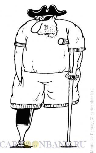 Карикатура: Одноногий, Мельник Леонид
