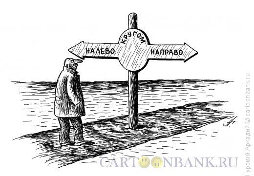 Карикатура: человек на развилке дорог, Гурский Аркадий