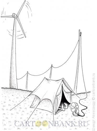 Карикатура: Ветер и ветерок (ч/б), Шмидт Александр