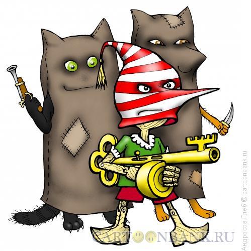 Карикатура: Темная сторона  Буратино, Андросов Глеб