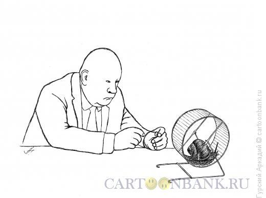 Карикатура: улитка в колесе, Гурский Аркадий
