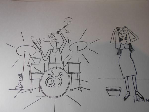 Карикатура: Голова болит, Собака Элла