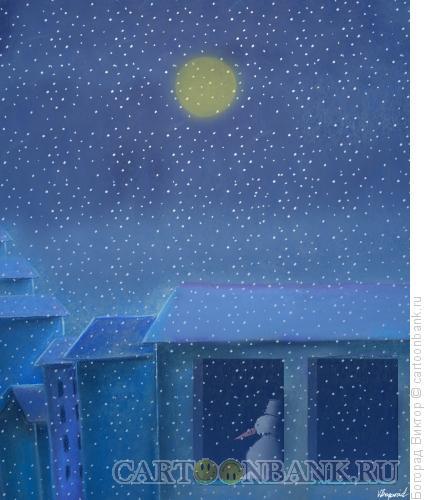 Карикатура: Ночной снегопад, Богорад Виктор