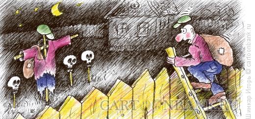 Карикатура: Дача ночью., Шинкар Игорь