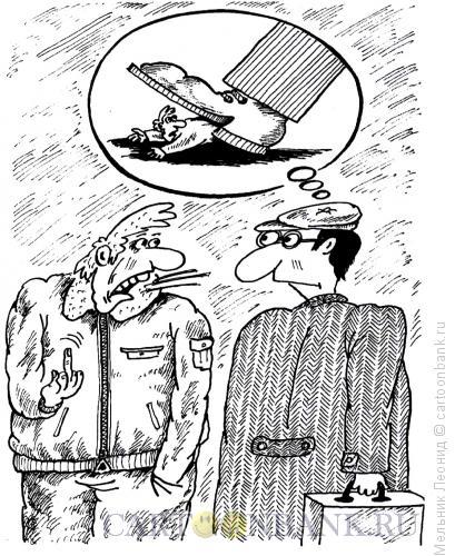 Карикатура: Мысленный ответ, Мельник Леонид