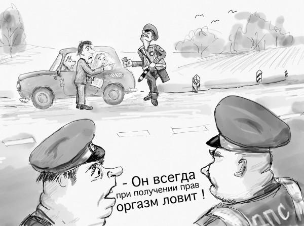 Карикатура: Чувствительный гаишник, Владимир Силантьев
