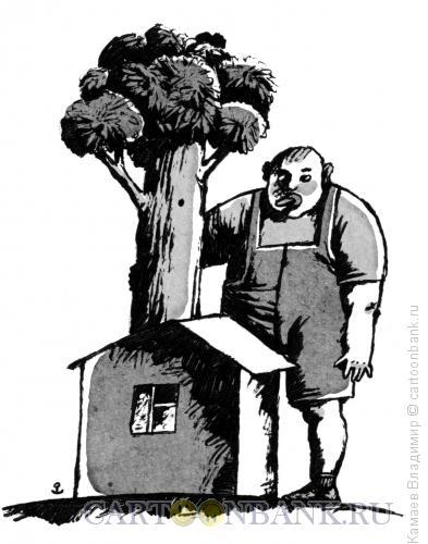 Карикатура: Сын, дом, дерево, Камаев Владимир