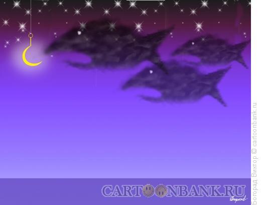 Карикатура: Ночная рыбалка, Богорад Виктор
