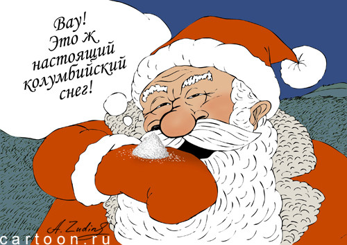 Карикатура: долгожданный снег, Александр Зудин
