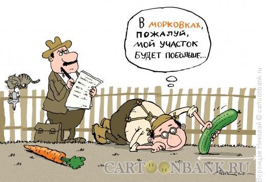 Карикатура: Замер участка, Воронцов Николай