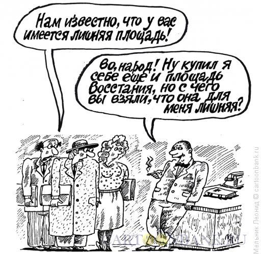 Карикатура: Лишняя площадь, Мельник Леонид