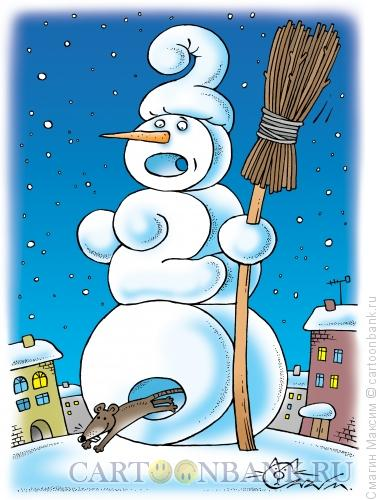 Карикатура: Новогодний снеговик, Смагин Максим
