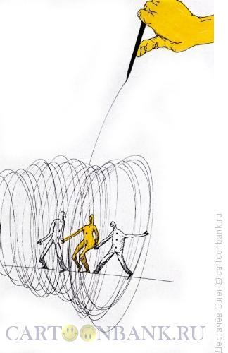 Карикатура: Трюк на канате, Дергачёв Олег