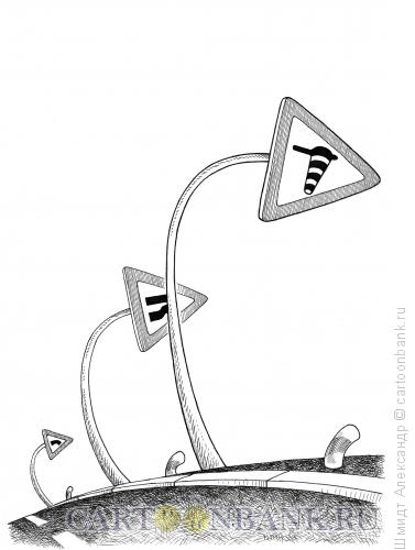 Карикатура: Очень сильный боковой ветер (ч/б), Шмидт Александр