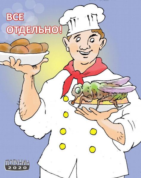 Карикатура: КОТЛЕТЫ И МУХИ, АЛЕКСАНДР ПОЛУНИН