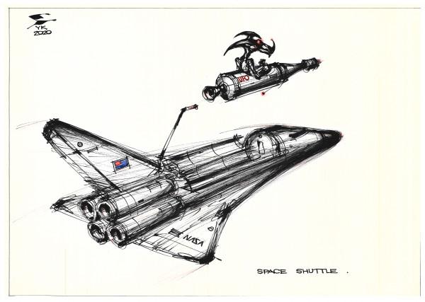 Карикатура: Space shuttle ., Юрий Косарев