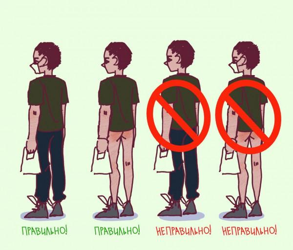 Мем: Как правильно ходить без маски и в маске, Сергей Михайлов