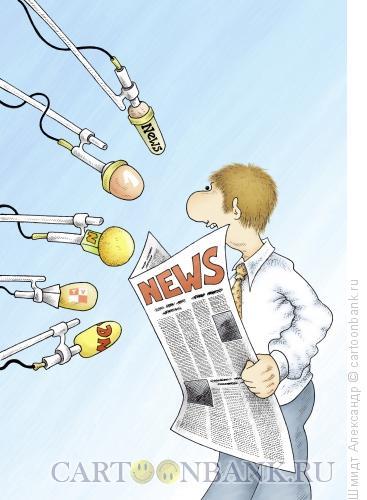 Карикатура: Поиск сюжета (ч/б), Шмидт Александр