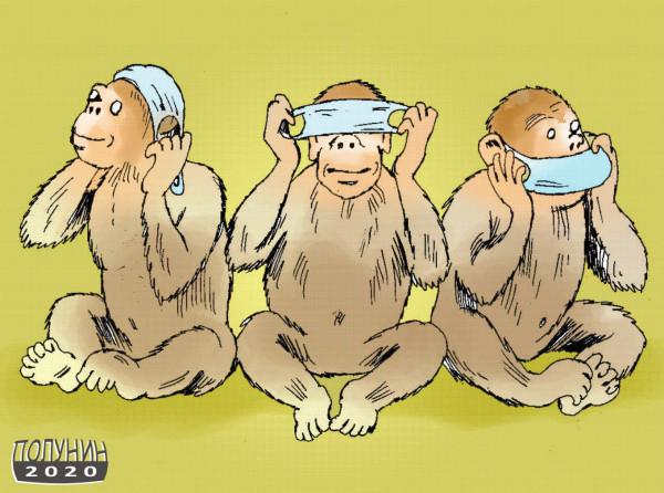 Карикатура: три маски, АЛЕКСАНДР ПОЛУНИН