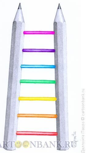 Карикатура: лестница из цветных карандашей, Далпонте Паоло