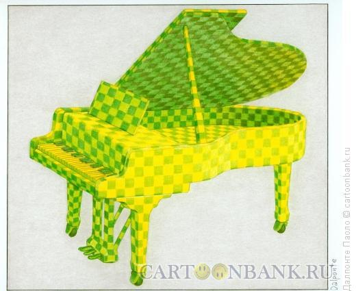 Карикатура: green piano, Далпонте Паоло