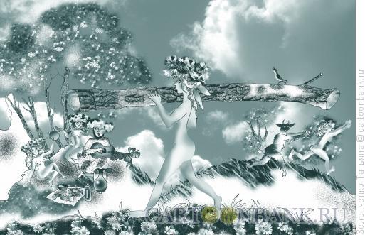 Карикатура: Дриада на субботнике, Зеленченко Татьяна