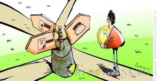 Карикатура: Куда идти с деньгами?, Подвицкий Виталий