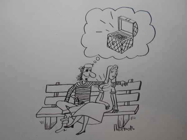 Карикатура: Пират и женщина2, Петров Александр