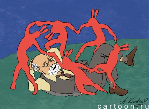 Карикатура: Дед Матисс и зайцы, Александр Зудин