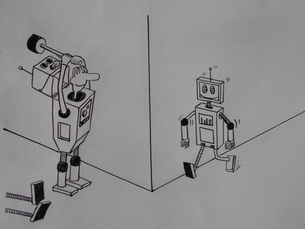 Карикатура: Истребление роботов, Петров Александр