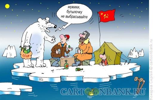 Карикатура: на льдине, Кокарев Сергей