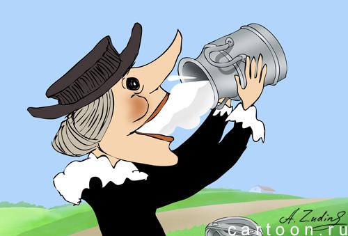 Карикатура: Молоко за вредность, Александр Зудин