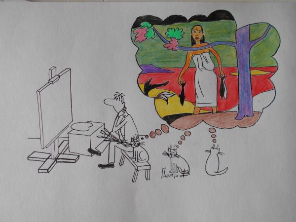 Карикатура: художник и коты, Собака Элла