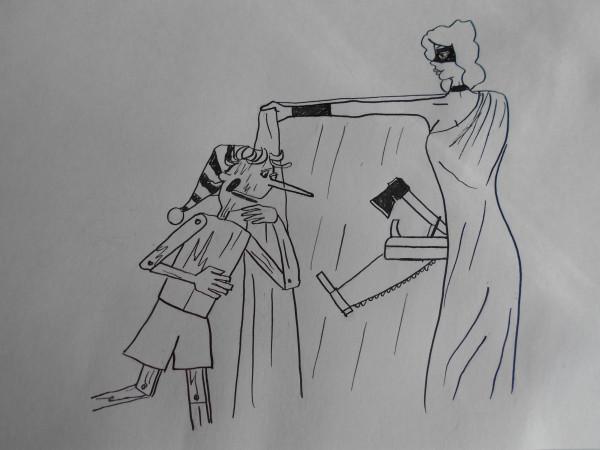 Карикатура: Женщина с буратино, Петров Александр