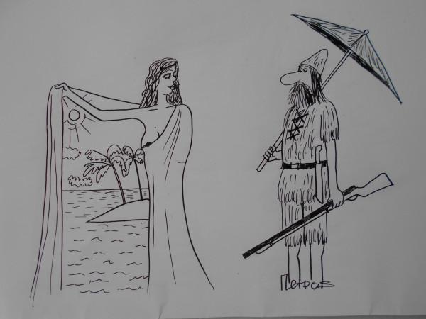 Карикатура: Женщина с робинзоном
