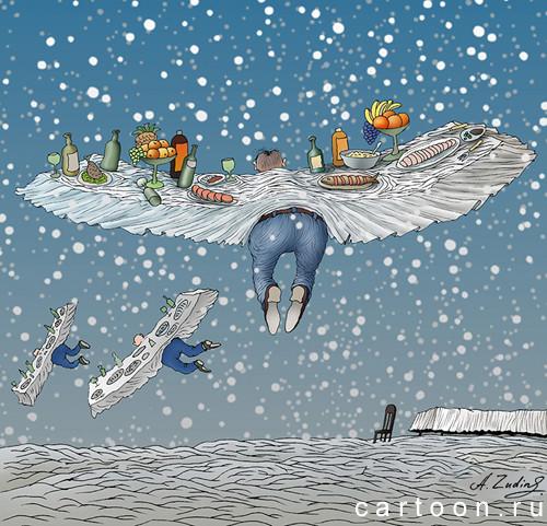 Карикатура: Прощай, масленица!, Александр Зудин