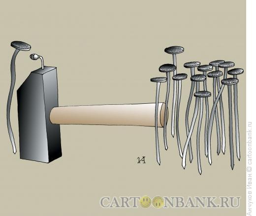 Карикатура: Гвоздь на трибуне, Анчуков Иван