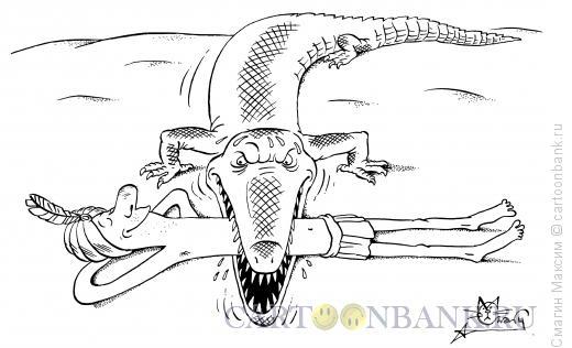 Карикатура: Йог и крокодил, Смагин Максим