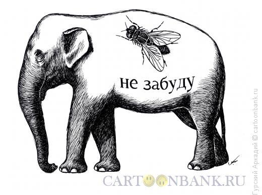 Карикатура: слон и муха, Гурский Аркадий