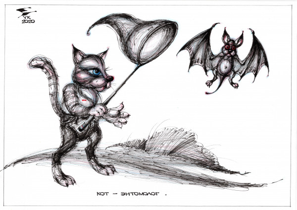 Карикатура: Кот - энтомолог ., Юрий Косарев