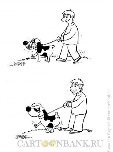 Карикатура: выгул собаки, Соколов Сергей