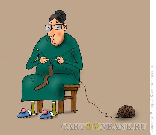 Карикатура: Неразумная бабушка, Тарасенко Валерий