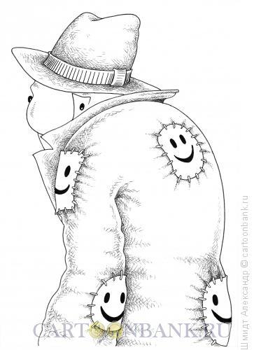Карикатура: Оптимистичная бедность (ч/б), Шмидт Александр