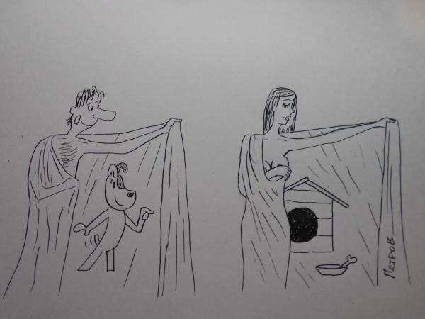 Карикатура: Хенщина с покрывалом 25, Петров Александр