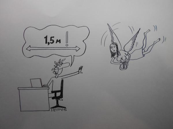 Карикатура: Поэт и коронавирус, Петров Александр
