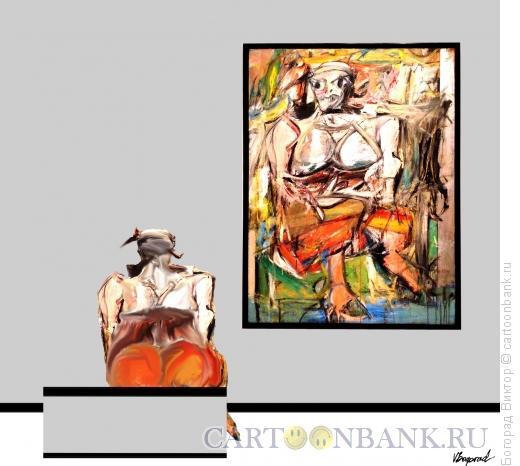 Карикатура: Картина и посетительница, Богорад Виктор