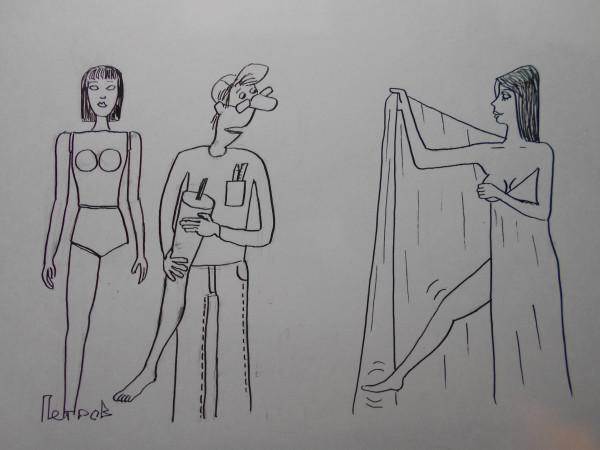 Карикатура: Люди и манекены, Петров Александр