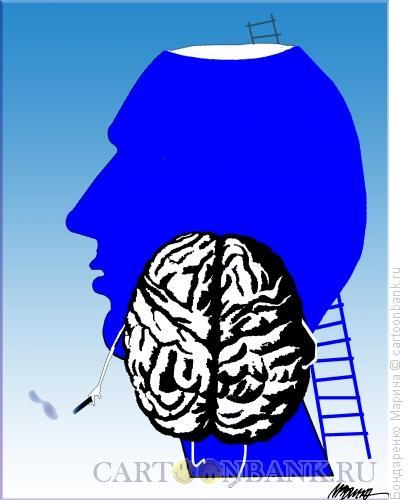Карикатура: Голова, Мозг, Лестница, Бондаренко Марина